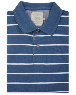 Men's Blue Vintage Stripe Polo Shirt