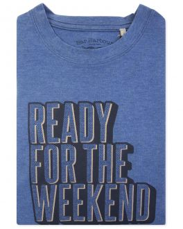 Men's Blue Ready For The Weekend Print T-Shirt