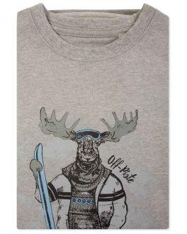Men's Grey Marl Off-Piste Print T-Shirt