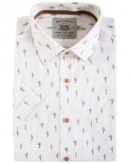 Men's White Cactus Print Short Sleeve Casual Shirt
