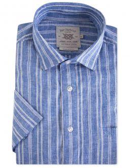 Blue Stripe Linen Blend Short Sleeve Casual Shirt