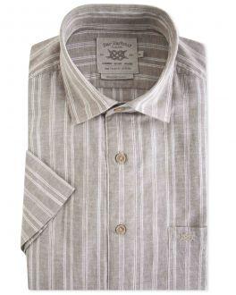 Khaki Stripe Linen Casual Shirt