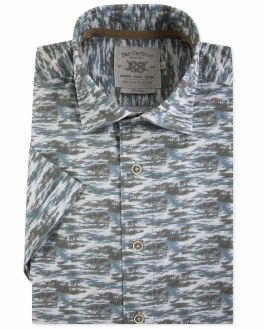 Men's Blue Island Print Short Sleeve Casual Shirt