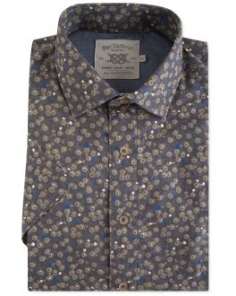 Olive Floral Short Sleeve Casual Shirt