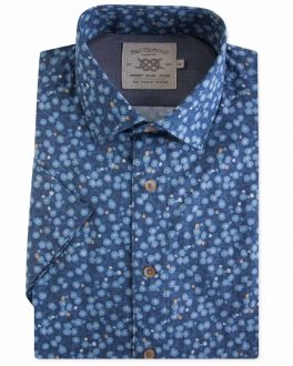 Blue Floral Short Sleeve Casual Shirt