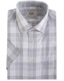 Grey Classic Check Short Sleeve Casual Shirt