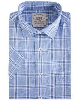 Blue Check Linen Casual Shirt