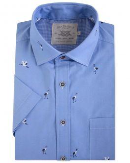 Blue Crane Print Short Sleeve Casual Shirt