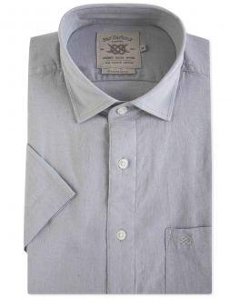 Grey Linen Blend Short Sleeve Casual Shirt