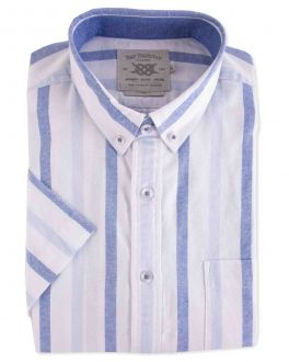 Blue Stripe Washed Oxford Short Sleeve Casual Shirt