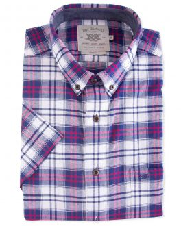 Men's Navy Bold Oxford Check Short Sleeve Casual Shirt Front