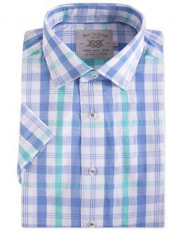 Men's Aqua Seersucker Short Sleeve Casual Shirt Front