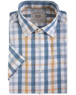 Men's Gold Seersucker Check Short Sleeve Casual Shirt Front