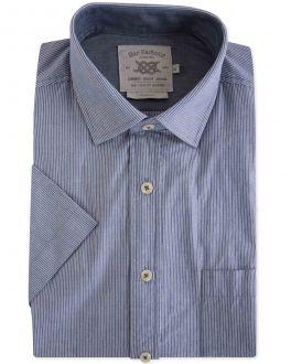 Denim Blue Chambray Stripe Casual Shirt
