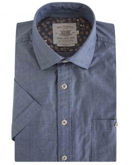 Denim Blue Chambray Short Sleeve Casual Shirt
