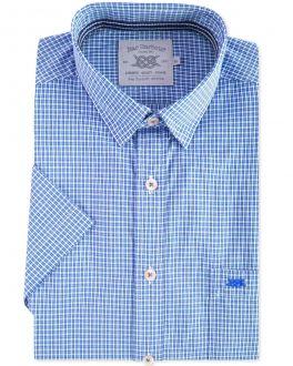 Blue Mini Check Short Sleeve Casual Shirt