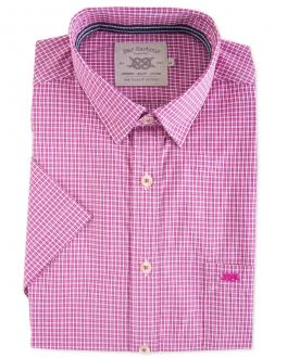 Berry Mini Check Short Sleeve Casual Shirt