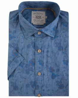 Washed Blue Floral Print Short Sleeve Casual Shirt
