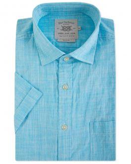 Men's Sea Blue Short Sleeve Casual Shirt
