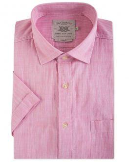 Men's Pink Cotton Slub Short Sleeve Casual Shirt