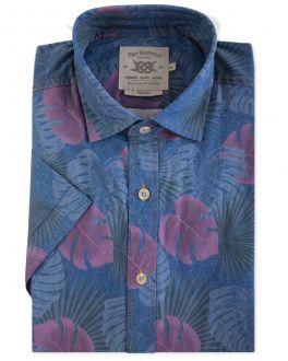 Men's Blue Tropical Print Short Sleeve Casual Shirt