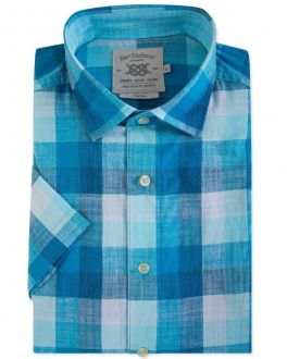 Men's Blue Check Cotton Slub Short Sleeve Casual Shirt