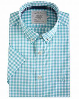 Men's Green Gingham Short Sleeve Casual Shirt