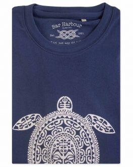 Men's Navy Tribal Turtle Print T-Shirt