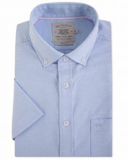 Men's Blue Oxford Short Sleeve Casual Shirt