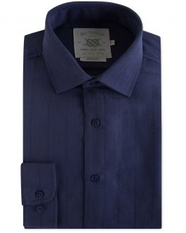 Men's Navy Modal Herringbone Casual Shirt