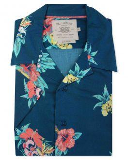 Midnight Blue Tropical Print Pyjama Collar Short Sleeve Casual Shirt Front