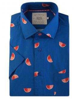 Navy Melon Print Short Sleeve Casual Shirt Front