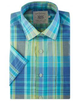 Aqua Madras Check Short Sleeve Casual Shirt Front