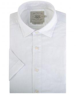White Linen Blend Short Sleeve Casual Shirt Front