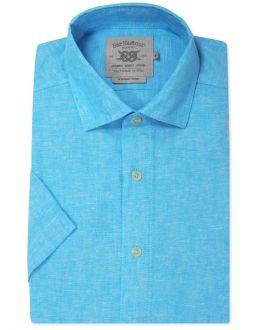 Aqua Blue Linen Blend Short Sleeve Casual Shirt