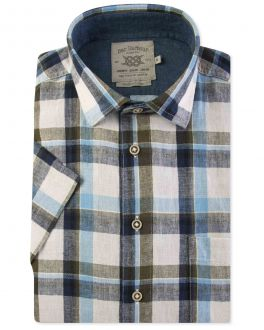 Blue and Green Check Linen Short Sleeve Casual Shirt Front