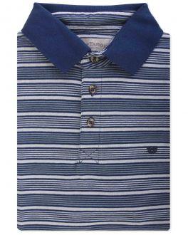 Navy Thin Stripe Polo Shirt Front