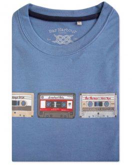 Men's Blue Tapes Print T-Shirt
