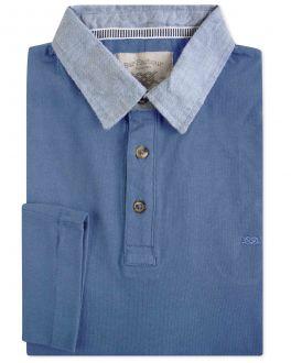 Blue Denim Collar Long Sleeve Polo Shirt