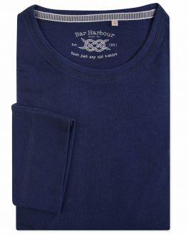 Navy Flecked Long Sleeve T-Shirt