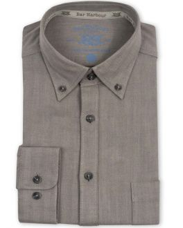 Grey Herringbone Recycled Cotton Casual Shirt