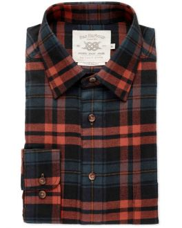 Men's Rust and Navy Check Front