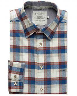 Ecru Herringbone Check Brushed Cotton Casual Shirt