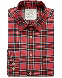 Red Tartan Check Casual Shirt