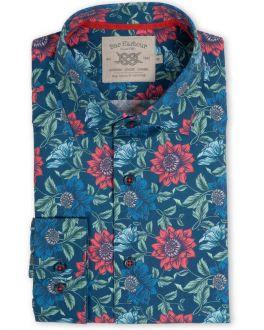 Navy Dahlia Floral Print Casual Shirt