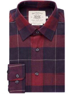 Brick Red and Navy Check Casual Shirt