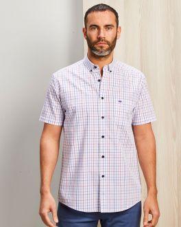 Plum Window Check Short Sleeve Casual Shirt