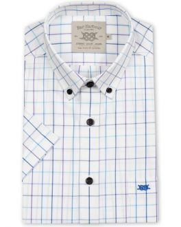 Aqua Window Check Short Sleeve Casual Shirt
