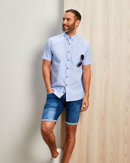 Blue End on End Short Sleeve Casual Shirt