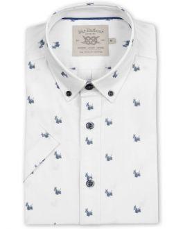 Grey Scotty Dog Print Short Sleeve Casual Shirt